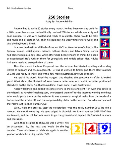 4th Grade Reading Comprehension Worksheets With Answers by Reading Comprehension Worksheets Teaching