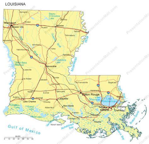 louisiana map with major cities louisiana powerpoint map major cities roads railroads