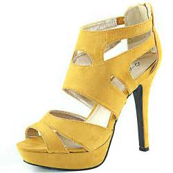 mustard colored sandals open toe strappy gladiator high heel platform sandals back