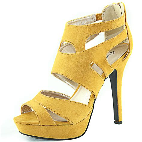 mustard yellow sandals open toe strappy gladiator high heel platform sandals back