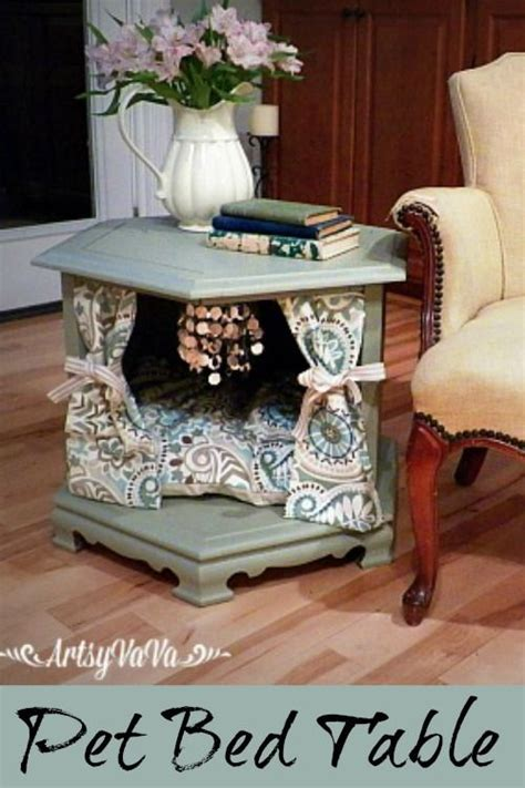 Beds Made Out Of End Tables by Repurposed Side Table To Posh Pet Bed Pet Beds Pets And