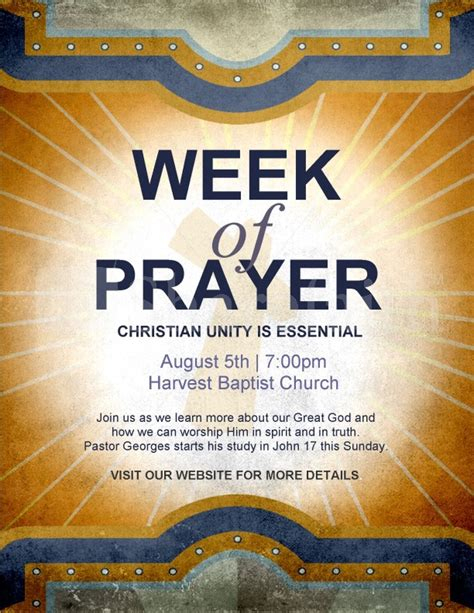 Week Of Prayer Flyer Template Flyer Templates Prayer Flyer Template