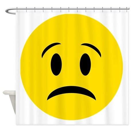 yellow sad face shower curtain by funcoolgraphics