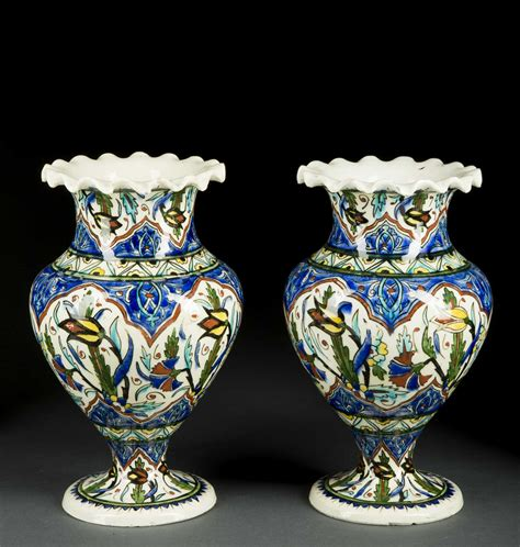 Islamic Vases by Pair Of Islamic Decorated Vases