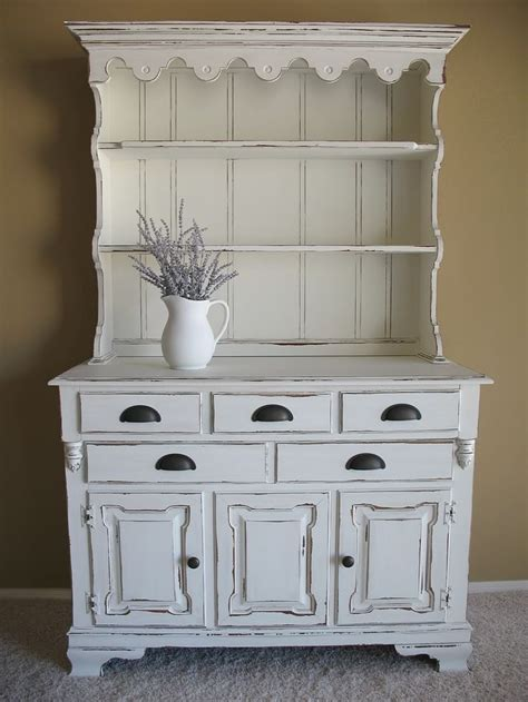 Distressed White Hutch chippy white distressed farmhouse hutch for the home