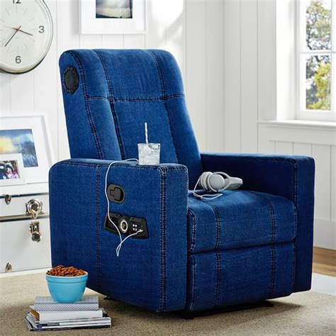 Denim Recliner by Denim Kick Back Recliner Speaker Media Chair Pbteen