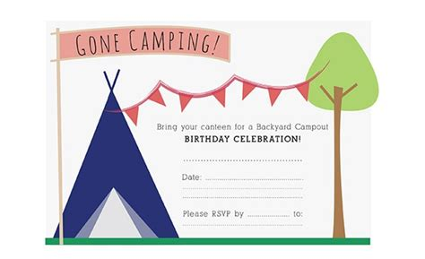 camp out invitations printable free camping birthday party invitation
