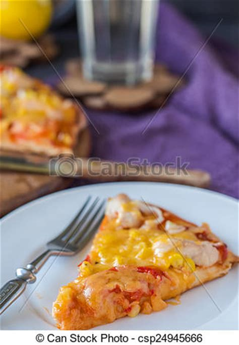Pizza Medium So Corn Chiken Chesee slice of pizza with chicken corn stock image