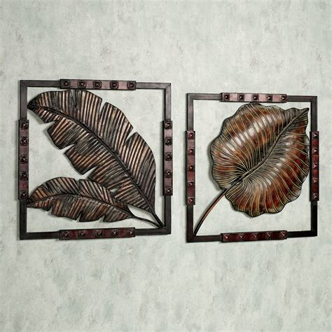Wall art ideas design leaves motifs tropical metal wall art squared hanging sensational