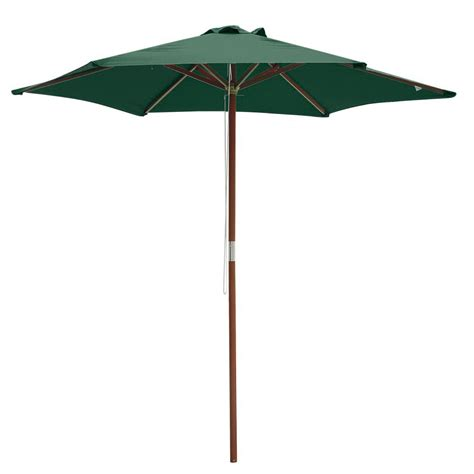 Outdoor Patio Umbrellas 8ft 6 Ribs Patio Wood Umbrella Wooden Pole Outdoor Garden Pool Cafe Sun Shade Ebay