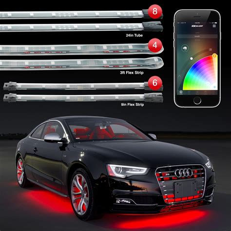 Auto Led Light Strips 8x24 Quot Undeglow 6x10 Quot Interior Strips 4x3ft Wheel Lights Xkchrome Ios Android App