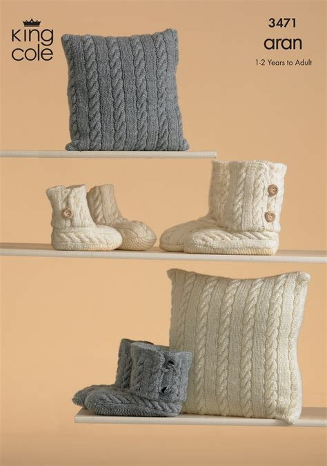 king cole aran knitting patterns king cole aran knitting pattern warm knitted boot slippers