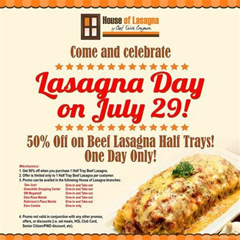 house of lasagna cheap eats discounts and freebies from july 23 to july 29 spot ph
