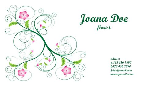 Flower Business Card Template by Floral Business Card Template Vector