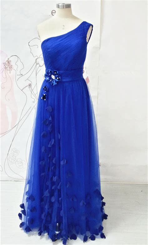 Longdress Butterfly one shoulder royal blue prom dresses with butterfly formal lace up tulle evening