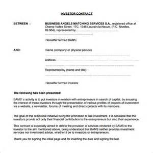 investor agreement template 9 investment contract templates free word pdf