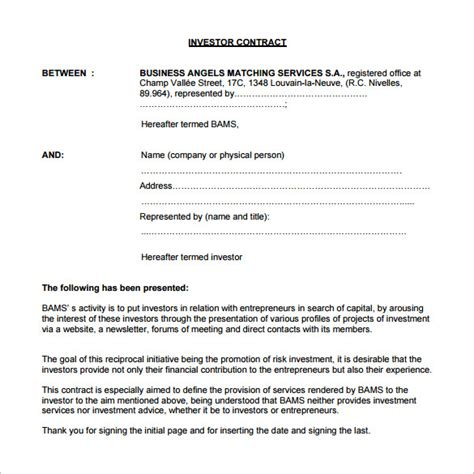 business investment template 11 investment contract templates free word pdf