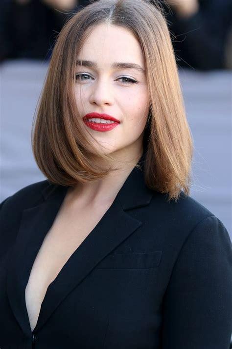 emilia clarke medium straight bob hairstyles