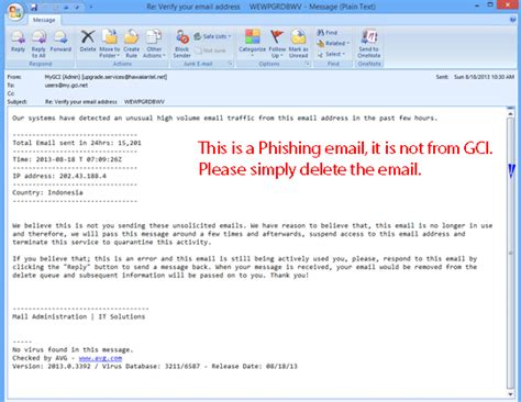 Phishing Spam Email Exles Gci Support Do Not Reply Email Template