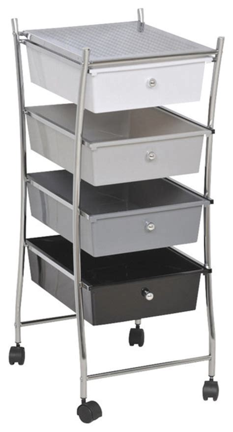 rolling storage cart 4 drawers white grey black