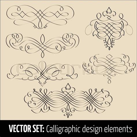 vector wedding design elements and calligraphic page decoration vector set of calligraphic design elements and page