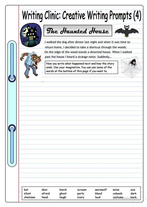 Esl Essay Writing by Writing Clinic Creative Writing Prompts 4 The Haunted House Worksheet Free Esl Printable