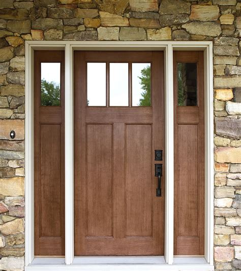 Exterior Fiberglass Doors With Sidelights Exterior Doors Craftsman Style Fir Textured Fiberglass Door With Matching Sidelites Bayer