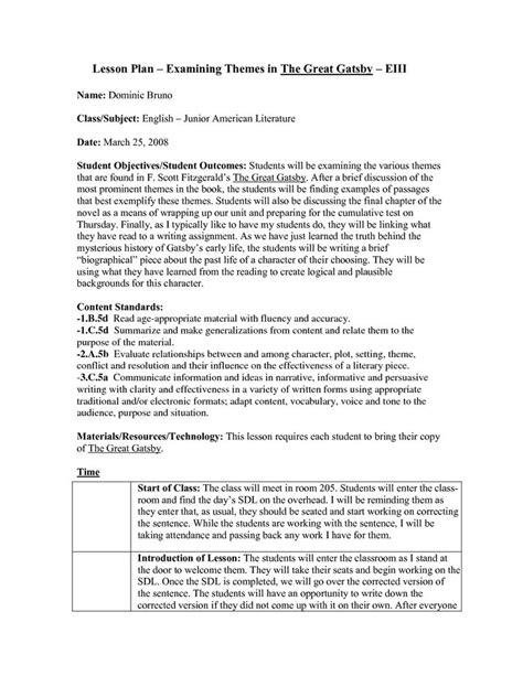 themes in the great gatsby worksheet lesson plans for american literature lesson plan