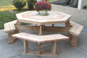 picnic table plans diy picnic table octagon