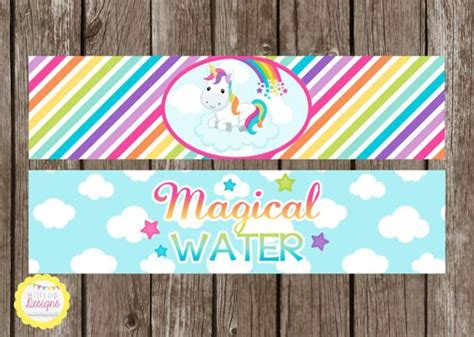 printable unicorn water bottle labels printable unicorn and rainbows water bottle juice or
