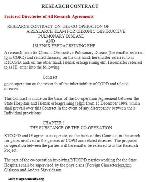 market research agreement template research contract agreement sle research contract