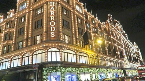 harrods christmas shop windows lights london luxury