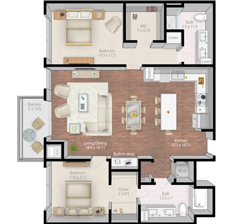 2 Bedroom Condo Floor Plans by Mill Amp Main Luxury Apartments Floor Plans