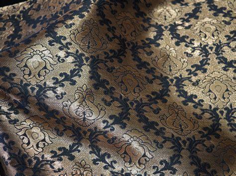 Black Brocade black and golden brocade fabric silk fabric with golden