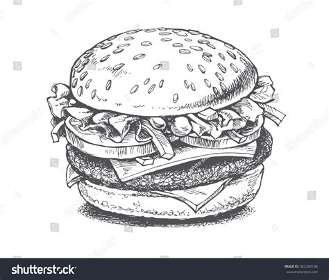 draw vector illustration burger vector drawing stock vector 382294198