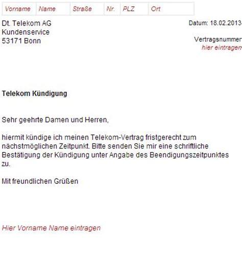 K Ndigen Telefonanschluss Muster telekom dsl k 252 ndigungsschreiben