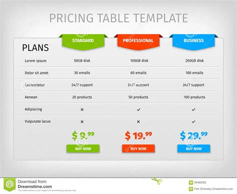 price plan design colorful comparison pricing table template stock vector
