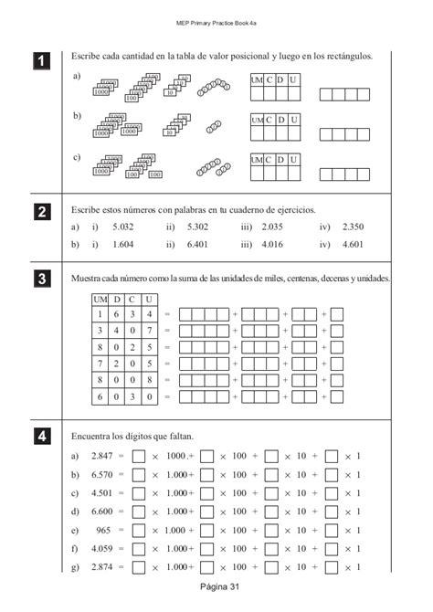 ejercicios de valor posicional para imprimir guia valor posicional