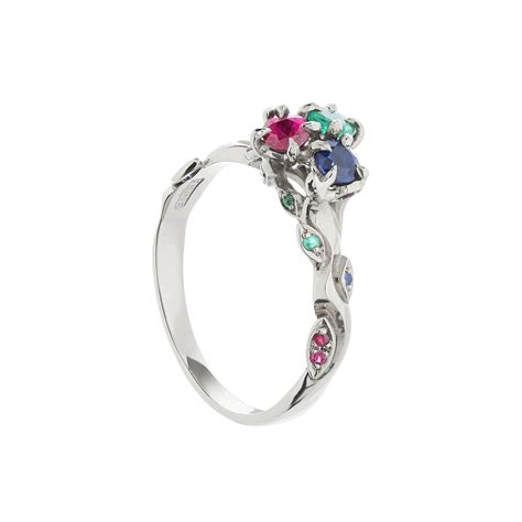 18ct white gold emerald ruby and sapphire cluster