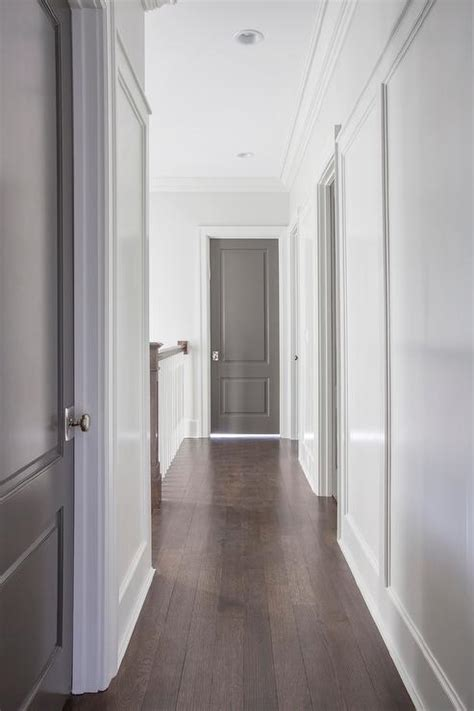 white walls with gray doors contemporary entrance foyer