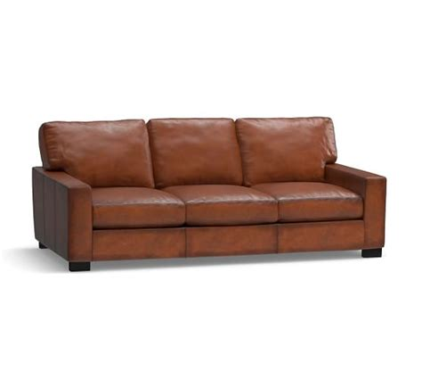 Leather Sofa Sleeper Turner Square Arm Leather Sleeper Sofa Pottery Barn