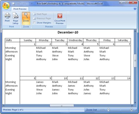Employee Shift Scheduling Spreadsheet by Free Employee Schedule Template Page 2 Search Results