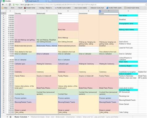 wedding planning schedule template scheduling the wedding day broken out non rustic