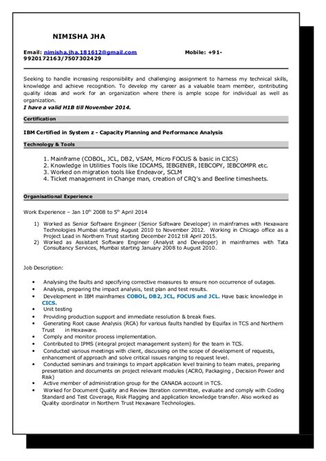 Mainframe Cobol Programmer Cover Letter by Mainframe Cobol Developer Resume 28 Images It Resume Sles Infotechresume Cobol Programmer