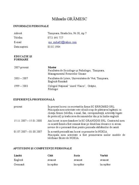Model Curriculum Vitae Romana Word Cv Romana