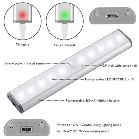 rechargeable led light bar wireless motion sensor cabinet lights 10 led usb