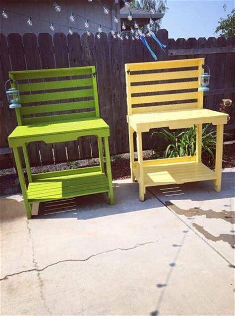 colorful bench diy colorful pallet potting benches pallet furniture plans