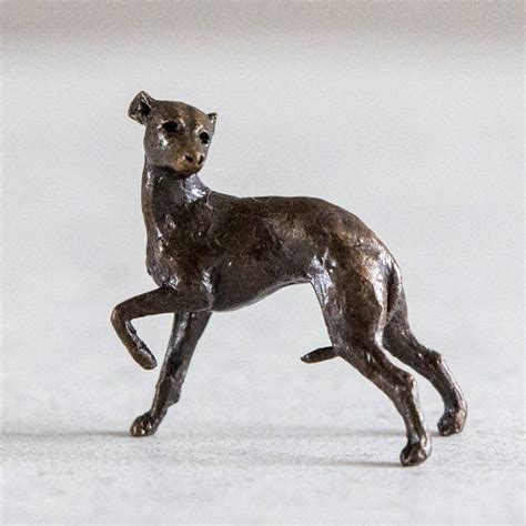 miniature solid bronze whippet sculpture by ginger rose
