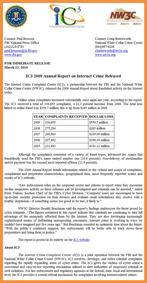 Complaint Letter Format For Cyber Crime Fbi Forms Images
