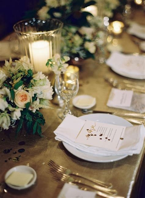 white and gold table settings gold table setting winter wedding